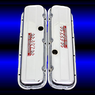 SBC Valve Covers Factory Height with Blue 350 High Performance Emblems Chrome