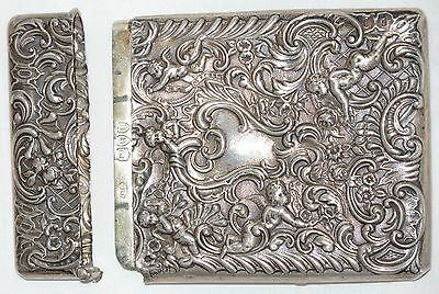 1895 Victorian Silver Cigarette/Card Case, Winged Cherubs ~ William Comyns, 1905