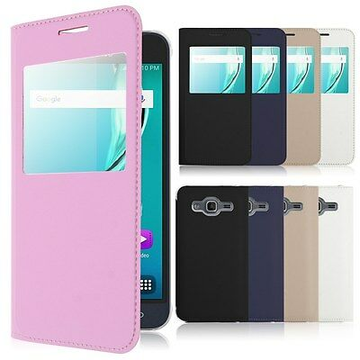 For Samsung Galaxy J3 2016 Flip View Window Stand PU Leather PC Phone Case Cover