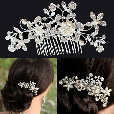 Wedding Party Bridal Pearl Hair Comb Flower Crystal Hair Bridesmaid Jewelry