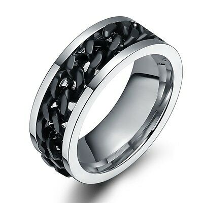 8mm Silver Black Rotatable Chain Stainless Steel Men's Wedding Band Ring