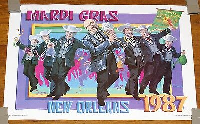 Vintage 1987 Mardi Gras Poster - Very Good Condition - Free Shipping