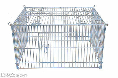 Metal Large Play Pen Run + Net Cover ideal for Rabbits, Guinea Pigs 116x76x45cms