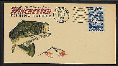 Winchester Fishing Tackle Ad Reprint On Original Period 1930s 3 X 6 Card *Z952