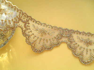 STUNNING  Delicate Gold Embroidered FRENCH Tulle Lace 6 cm Costume/Crafts