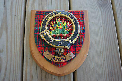 Old Vtg Chief of Grant Standfast Scottish Crest Shield Badge Plaque Scotland