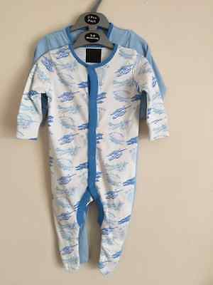 *new* Ex Next Twin Pack Baby Boys Blue White Vintage Aeroplanes Sleepsuit 3-6