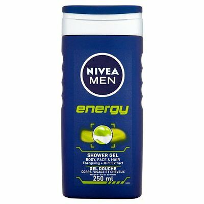 Nivea for Men energy shower gel for body, face & hair 250 ml - Pack of 6