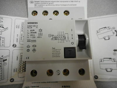 Siemens 5Sm1 346-6 Circuit Breaker,rccb,residual Current Operated,63A,4 Pole