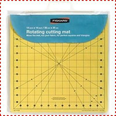 "Fiskars 14""x 14"" Rotating Cutting Mat - Cut and Turn, Patchwork, Quilting, Ruler"