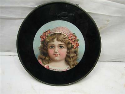 Antique Flue Cover Victorian Child Girl Ornate Flowers Round Chimney Plate