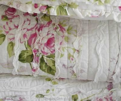 Shabby French Country Chic Pink Cottage Rose Rag Ruffle Couch Bed Cushion Pillow