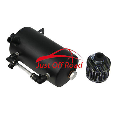0.5L Oil Breather Tank Catch Can Reservoir +Black Stainless Filter