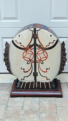 Antique Chinese Doble Door Drum Shape Hand Painted Cabinet Dragon &carp Motif #2