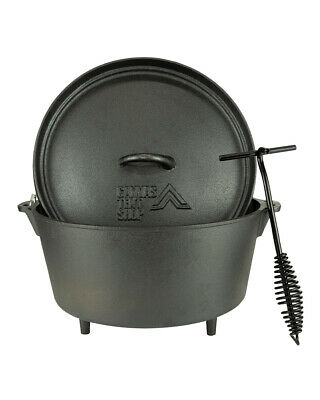 Dutch Oven 8 Litre  Cast Iron Camping Bushcraft Cooking Pot Free Lid Lifter