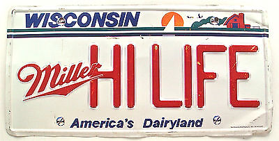 Wisconsin License Plate Style Beer Sign Miller Hi Life Vtg Pub Decor 23 Inches