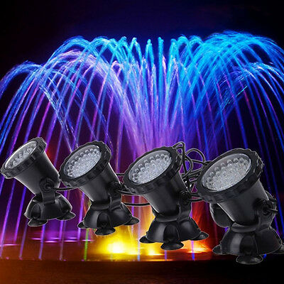 4 X Multicolor 36 LED Underwater Spot lights for Water Aquarium Tank Garden Pond