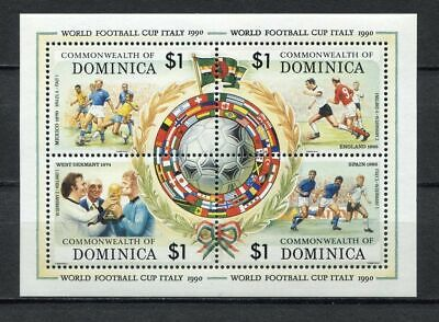 s6283) DOMINICA 1989 MNH** World Cup Football'90 - S/S