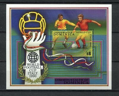 s6284) DOMINICA 1990 MNH** World Cup Football'90 - S/S