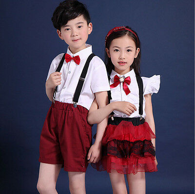 Girls Boys Cotton Short Sleeve Bow Tie Student School Uniform Outfits Top&Shorts