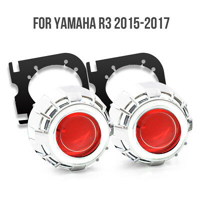 For Yamaha YZF R3 2015+ LED Angel Eyes HID Projector Demon Eyes Light 55W Red