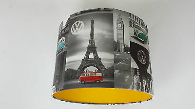 LAMPSHADE made from VW City Campers Multicolor Wallpaper. Handmade..