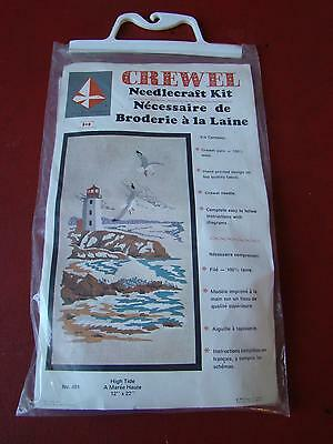 """Lighthouse Crewel Embroidery Needlecraft Kit 1975 High Tide 12"""" By 22"""" Nos"""