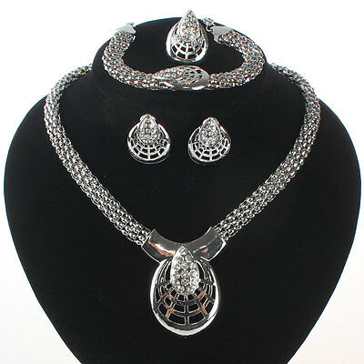 Fashion Women Crystal Shield Pendant Necklace Wedding Party Jewelry Set 2 Colors