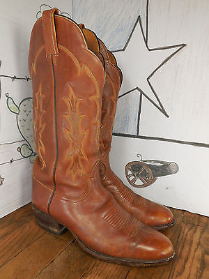 Vintage TONY LAMA Brown Leather Western Cowboy Boots 6623 Made in USA 9D
