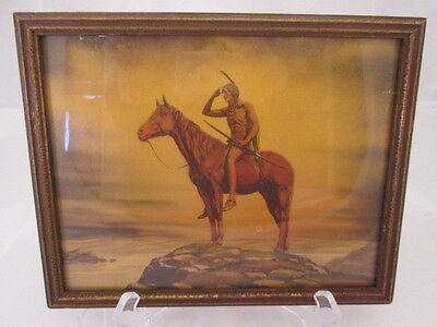 1920s Lithograph Print Native American Indian Scout Period Frame