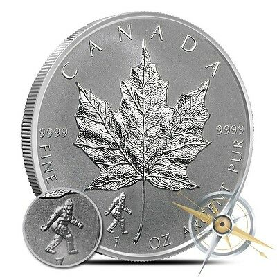 Bigfoot Privy 2016 $5 Canadian Maple Silver Leaf Silver Coin