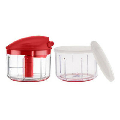 Kuhn Rikon Swiss Pull Chop Manual Food Processor With 2 Containers, Red