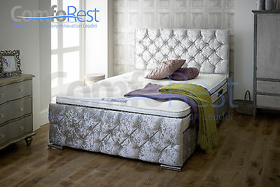 iBEX CRUSHED VELVET Upholstered Storage Bed Frame , Single, double and king