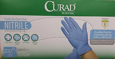 Curad - Powder-Free Exam Gloves - Nitrile - Case of 200 Large Latex Free Gloves