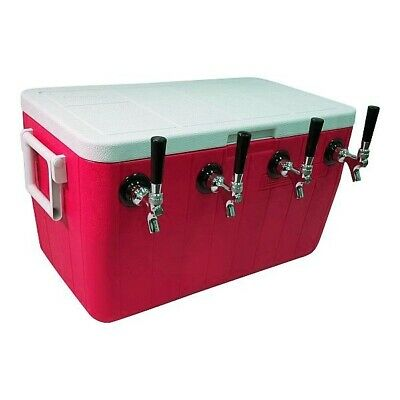 """NY Brew Supply Jockey Box Cooler - 4 Faucet, 5/16"""" x 50' Stainless Coils, 48qt"""