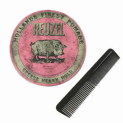 REUZEL PINK Strong Heavy Hold Grease Pomade 4Oz 113g Free Comb NEW