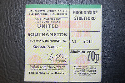 Ticket 1977 Fa Cup Manchester United V Southampton - Man United Winners
