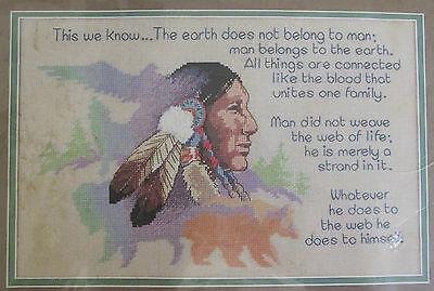 "Earth & Man Counted Cross Stitch Kit 3764 Dimensions American Indian 14 x 9"" USA"