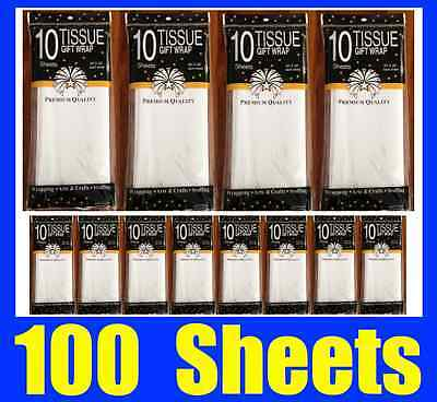 100 Sheets Premium Pure White Tissue Paper Retail Gift Wrap Wrapping 750x500mm