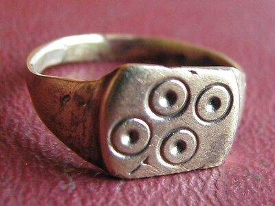Ancient Artifact > Medieval Bronze Finger Ring SZ: 7 3/4 US 18mm 14433 DR