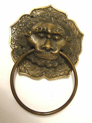Antique Vintage Collectible Chinese Copper Foo Dog Fudog Lion Head Door Knocker