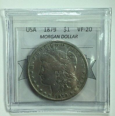 1879 American Silver One Dollar Coin Mart Graded VF-20 Morgan Dollar