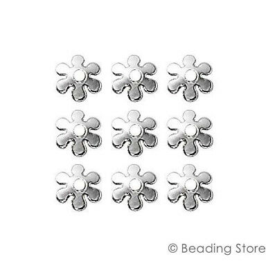 12 100 or 500 x 925 Sterling Silver Bead Caps 6mm Flower Cap Findings 1.4mm Hole