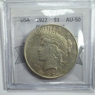 1922 American Silver One Dollar Coin Mart Graded AU-50 Peace Dollar Phi. Mint