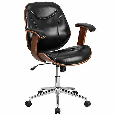 Flash Furniture Mid-Back Leather Executive Office Chair, (SD-SDM-2235-5-BK-GG)..