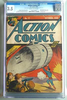 Action Comics # 17  6th Superman cover !  CGC 3.5  rare Golden Age book !