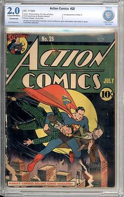 Action Comics # 26  Great Superman cover !  CBCS 2.0 rare Golden Age book !