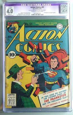 Action Comics # 51  1st app of the Prankster !  CGC 4.0 rare Golden Age book !