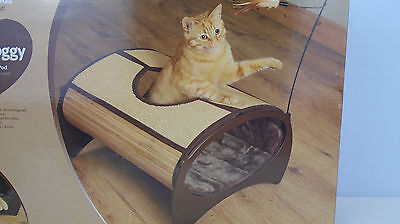 Rosewood Natural Bamboo Cat Pod Bed with Cat Nip Toy plus Scratch Board