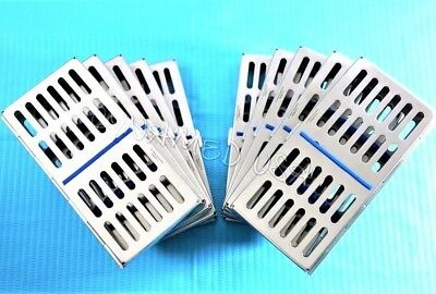 New 10 Dental Autoclave Sterilization Cassette Rack Box Tray For 7 Instruments